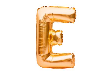Letter E made of golden inflatable helium balloon isolated on white. Gold foil balloon font part of full alphabet set of upper case letters