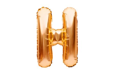 Letter H made of golden inflatable helium balloon isolated on white. Gold foil balloon font part of full alphabet set of upper case letters