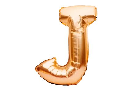 Letter J made of golden inflatable helium balloon isolated on white. Gold foil balloon font part of full alphabet set of upper case letters. Celebrating decoration Stock fotó