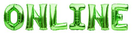 Green word ONLINE made of inflatable balloons isolated on white background. Green foil balloon letters. Shopping, working or training online from home. Staying home, freelance concept.