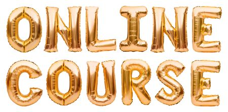 Golden words ONLINE COURSE made of inflatable balloons isolated on white. Gold foil balloon letters. Studying, working, training online from home. Staying home, education, freelance concept Banco de Imagens