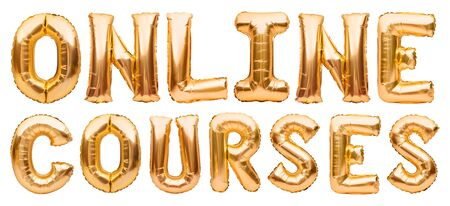 Golden words ONLINE COURSES made of inflatable balloons isolated on white. Gold foil balloon letters. Studying, working, training online from home. Staying home, education, freelance concept Banco de Imagens