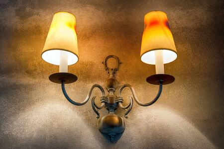 Chandelier on the wall. Retro ceiling lamp. Chandelier in the Italian style. Vintage decorations Stok Fotoğraf