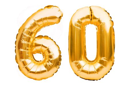 Number 60 sixty made of golden inflatable balloons isolated on white. Helium balloons, gold foil numbers. Party decoration, anniversary sign for holidays, celebration, birthday, carnival.