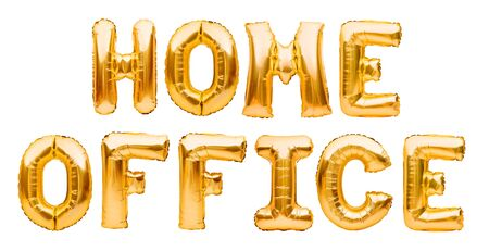 Words HOME OFFICE made of golden inflatable balloons. Quarantine, protection from Coronavirus or Covid-19 epidemic, social media campaign for coronavirus prevention Banco de Imagens