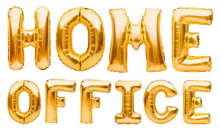 Words HOME OFFICE made of golden inflatable balloons. Quarantine, protection from Coronavirus or Covid-19 epidemic, social media campaign for coronavirus prevention.