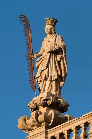 Santiago de Compostela Cathedral, Galicia, Spain. Statues of St. Susanna. Obradeiro square in Santiago de Compostela The ending point of ancient pilgrim routes, Way of St. James