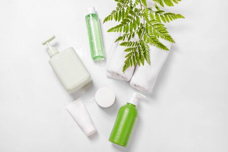 Cosmetic containers with green herbal leaves and water drops, blank label package for branding mock-up. Moisturizing cream, shampoo, tonic, face and body skin care. Natural organic beauty product. Imagens