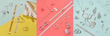 Silver and gold jewelry on minimal colorful background. Rings, bracelets and earrings.Top view of fashion luxury woman accessories, jewelry and shopping concept. Trendy flatlay composition for banner. Imagens
