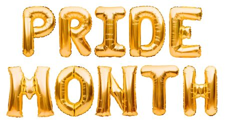 Inflatable golden balloons, letters forming words PRIDE MONTH isolated on white background. LGBT, carnival pride, holiday card, party, freedom, free love concept