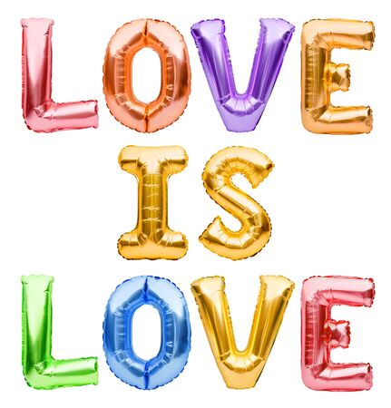 Phrase Love Is Love made from inflatable golden balloons. Pride day concept, free love, balloon lettering for LGBT Rights, Pride Month. Quote for posters, cards, t shirts, banners, social media