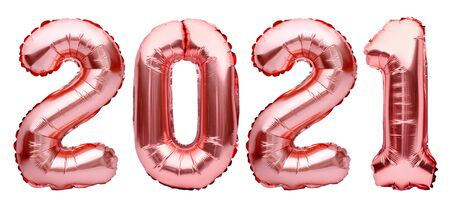 Numbers for Happy New Year 2021. Rose golden Christmas 2021 balloons isolated on white background. Helium balloons, pink gold foil numbers. Party decoration, anniversary, celebration, carnival.