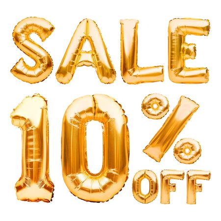 Golden ten percent sale sign made of inflatable balloons isolated on white. Helium balloons, gold foil numbers. Sale decoration, black friday, discount concept. 10 percent off, advertisement message