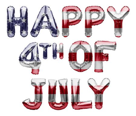 HAPPY 4TH OF JULY words made of inflatable balloons on white background. American patriotic holiday, Independence Day, 4 of July.Balloons with stars and stripes of an American Flag, great USA holiday Imagens - 147993972