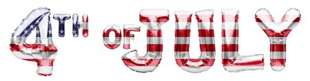 4TH OF JULY words made of inflatable balloons on white background. American patriotic holiday, Independence Day, 4 of July. Balloons with stars and stripes of an American Flag, great USA holiday. Imagens
