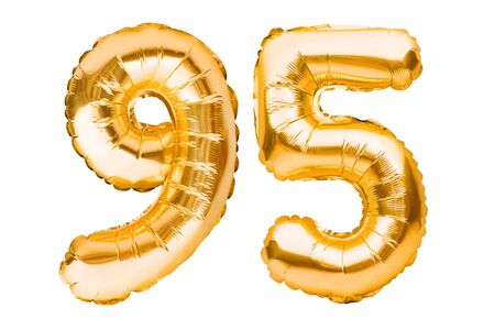 Number 95 ninety five made of golden inflatable balloons isolated on white. Helium balloons, gold foil numbers. Party decoration, anniversary sign for holidays, celebration, birthday, carnival. Imagens - 148423475