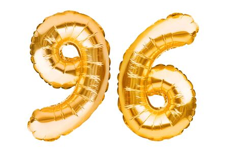 Number 96 ninety six made of golden inflatable balloons isolated on white. Helium balloons, gold foil numbers. Party decoration, anniversary sign for holidays, celebration, birthday, carnival. Imagens - 148426668