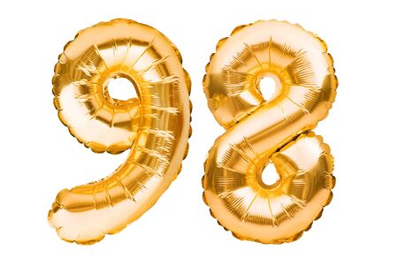 Number 98 ninety eight made of golden inflatable balloons isolated on white. Helium balloons, gold foil numbers. Party decoration, anniversary sign for holidays, celebration, birthday, carnival Imagens