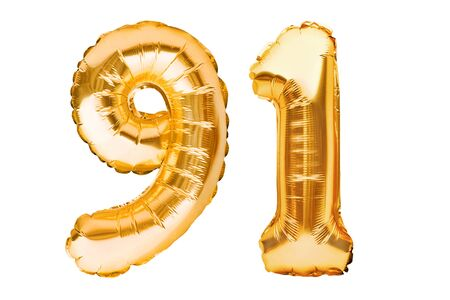 Number 91 ninety one made of golden inflatable balloons isolated on white. Helium balloons, gold foil numbers. Party decoration, anniversary sign for holidays, celebration, birthday, carnival Imagens