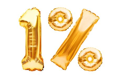 Number 1 one and percent sign made of golden helium inflatable balloons isolated on white. Gold foil numbers for use on web and advertising banners, posters, flyers. Discounts Black Friday concept. Imagens