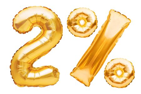 Number 2 two and percent sign made of golden helium inflatable balloons isolated on white. Gold foil numbers for use on web and advertising banners, posters, flyers. Discounts Black Friday concept. Imagens