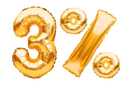 Number 3 three and percent sign made of golden helium inflatable balloons isolated on white. Gold foil numbers for web and advertising banners, posters, flyers. Discounts, sale, Black Friday concept. Imagens - 148535491