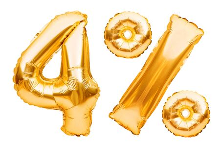 Number 4 four and percent sign made of golden helium inflatable balloons isolated on white. Gold foil numbers for web and advertising banners, posters, flyers. Discounts, sale, Black Friday concept. Imagens