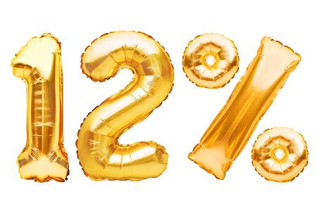Number 12 twelve and percent sign made of golden helium inflatable balloons isolated on white. Gold foil numbers for web and advertising banners, posters, flyers.Discounts, sale, Black Friday concept Imagens - 148538058