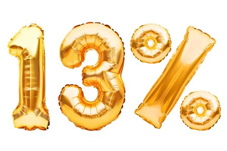 Number 13 thirteen and percent sign made of golden helium inflatable balloons isolated on white. Gold foil numbers for web and advertising banners, posters, flyers. Discounts, sale, Black Friday. Imagens