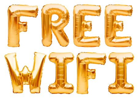 Words FREE WIFI made of golden inflatable balloons isolated on white background. Helium balloons gold foil forming message free wi-fi access. Internet and information technology concept Imagens