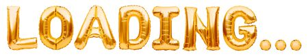 Word LOADING made of golden inflatable balloons isolated on white background. Helium balloons gold foil forming word loading. Internet and information technology concept Imagens