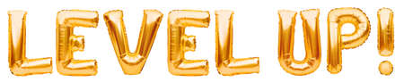 Words LEVEL UP made of golden inflatable balloons isolated on white. Helium gold foil balloons forming phrase level up. Startup, grand opening celebration. Business beginnings event concept.