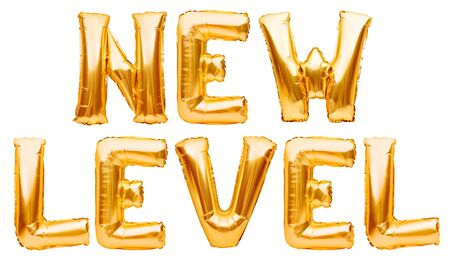 Words NEW LEVEL made of golden inflatable balloons isolated on white. Helium gold foil balloons forming phrase new level. Startup, grand opening celebration. Business beginnings event concept Imagens - 149392333