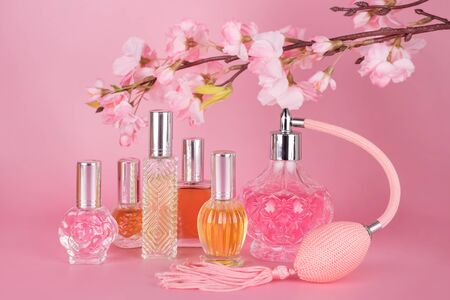 Different transparent perfume bottles with spring blooming tree branch on pink background. Aromatic essence bottles with cherry blossom spring flowers. Perfumery, cosmetics, fragrance collection Imagens - 149582327