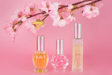 Different transparent perfume bottles with spring blooming tree branch on pink background. Aromatic essence bottles with cherry blossom spring flowers. Perfumery, cosmetics, fragrance collection Imagens - 149582773