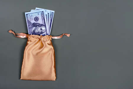 Money in golden gift bag on grey background with copyspace for text. Saving investing concept. American currency, cash, bonus, monetary prize, pile of 100 dollar bills