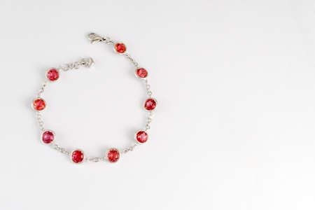 Fashion pink sapphire bracelet on white background