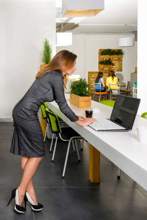 Business, technology and green office concept - young successful businesswoman with laptop computer at office. Woman using tablet computer.