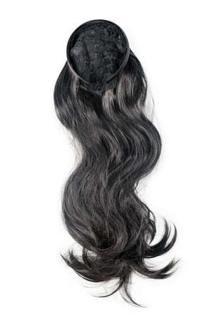 Female black wig isolated on white background. Dark long human hair weaves, extensions and wigs. Woman beauty concept.