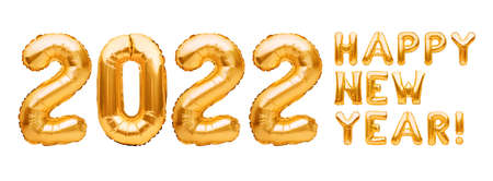 Happy New Year 2022 phrase made of golden inflatable balloons isolated on white. Helium balloons forming Happy New Year 2022 congratulation, foil celebration decoration Imagens