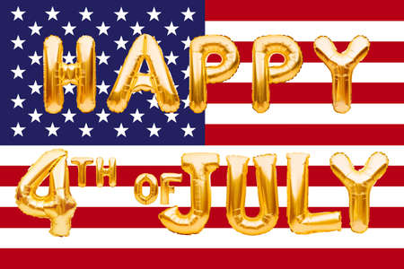HAPPY 4TH OF JULY words made of golden inflatable balloons on american flag background. American patriotic holiday, Independence Day, 4 of July, great USA holiday.