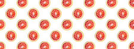 Banner, pattern from bloody oranges sliced or cut in half isolated on white background. Red sicilian orange fruit as package design element.