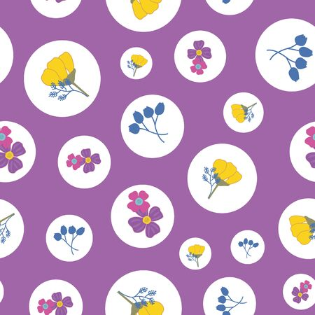 Seamless Repeat Pattern with Small Bouquets of Flowers in White Circles and with a Mauve Background  イラスト・ベクター素材
