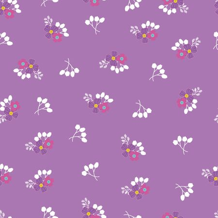 Seamless Repeat Pattern with Red and Purple Flowers and Mauve Background