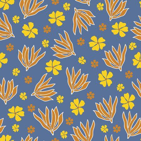 Tumbling Flower Heads Seamless Print Background
