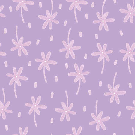 Pink watercolour flowers seamless vector pattern background.  イラスト・ベクター素材