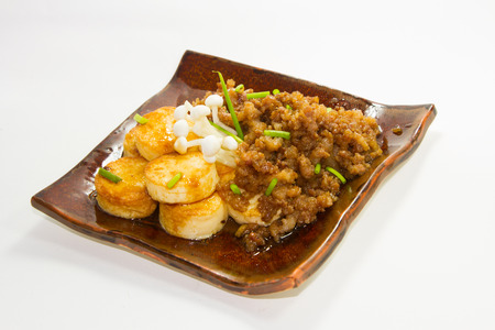doufu:  Tofu and minced pork cooked with chili bean paste