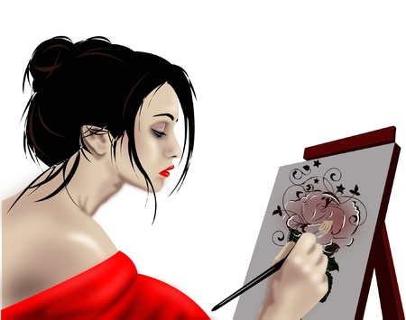 easel: Woman artist