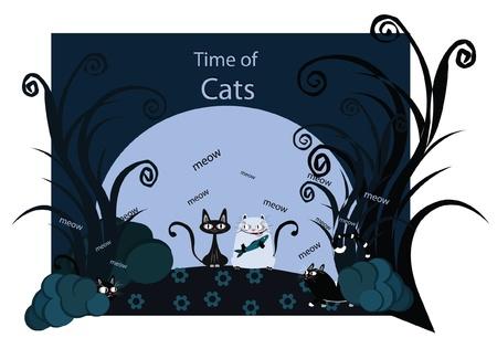 cunning: Ilustraci�n sobre la vida nocturna gatitos astutos y lindo