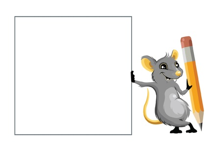 pencil box: Mouse with a pencil and text box Illustration